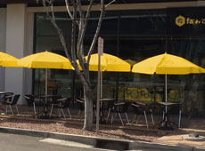 Yellow Umbrella Outdoor Tables